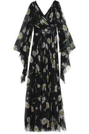 DOLCE & GABBANA Embellished satin-trimmed floral-print silk-chiffon gown