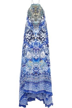 CAMILLA Guardian Of Secrets embellished printed silk maxi dress