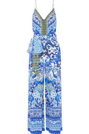 CAMILLA Crystal-embellished printed silk crepe de chine jumpsuit