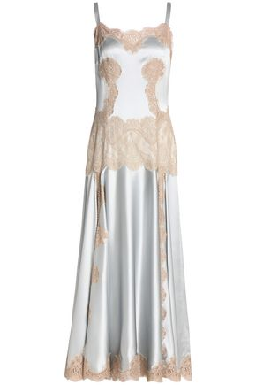 DOLCE & GABBANA Lace-paneled silk-blend satin midi dress