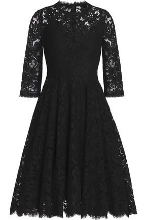 DOLCE & GABBANA Pleated cotton-blend corded lace dress