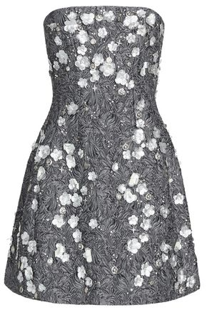 DOLCE & GABBANA Strapless floral-appliqué guipure lace mini dress