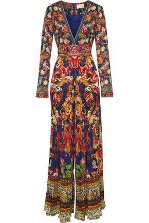 CAMILLA Crystal-embellished pleated printed crepe de chine jumpsuit
