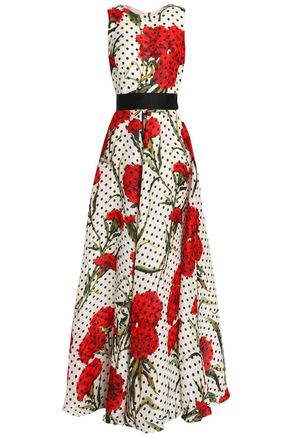 DOLCE & GABBANA Tie-back printed cotton-blend gown