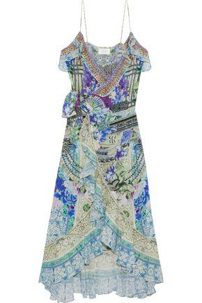 CAMILLA Dear Diary ruffle-trimmed printed silk crepe de chine wrap midi dress