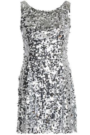 DOLCE & GABBANA Fluted sequined tulle mini dress
