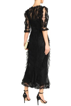 DOLCE & GABBANA Ruffle-trimmed lace and tulle maxi dress