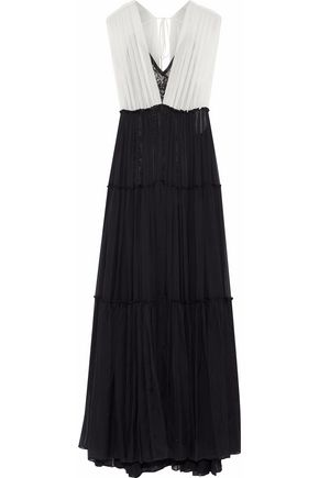 CATHERINE DEANE Juda pleated two-tone silk-chiffon gown