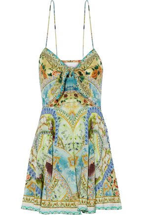 CAMILLA Crystal-embellished knotted printed silk crepe de chine mini dress