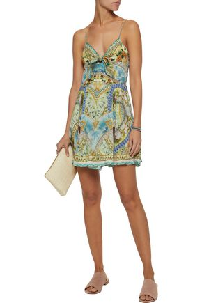 Crystal Embellished Knotted Printed Silk Crepe De Chine Mini Dress by Camilla