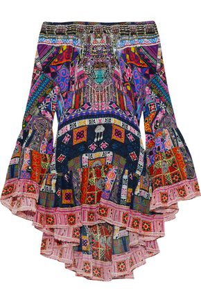 CAMILLA Off-the-shoulder crystal-embellished printed silk crepe de chine mini dress