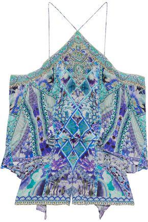 CAMILLA Cold-shoulder crystal-embellished printed silk crepe de chine playsuit