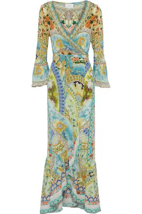 CAMILLA Sign Of Peace crystal-embellished printed silk crepe de chine maxi wrap dress