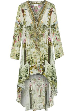 CAMILLA Lace-up embellished printed silk crepe de chine dress