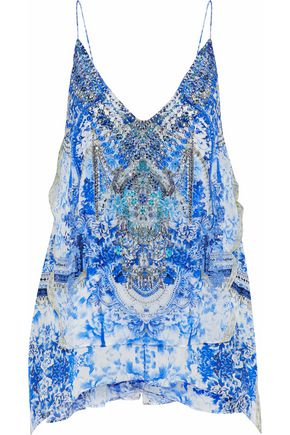 CAMILLA Embellished printed silk crepe de chine camisole