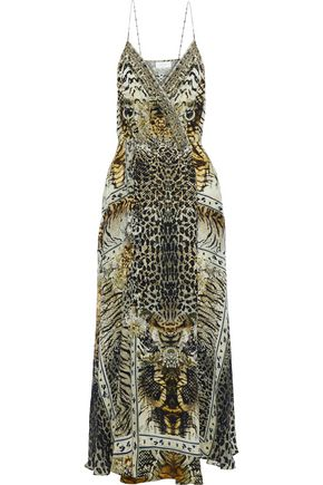 CAMILLA Crystal-embellished printed silk crepe de chine wrap dress