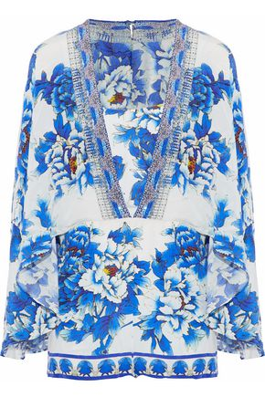 CAMILLA Cape-effect printed silk playsuit