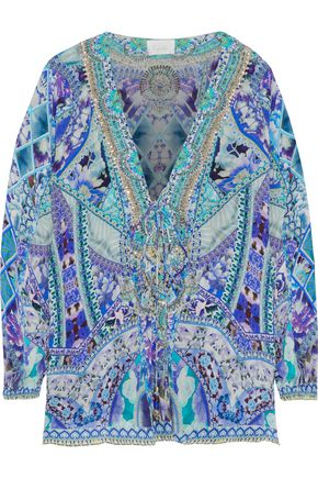 CAMILLA The Blue Market crystal-embellished printed silk crepe de chine top