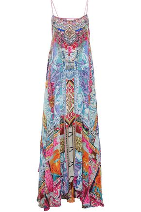 CAMILLA Embellished printed silk crepe de chine maxi dress