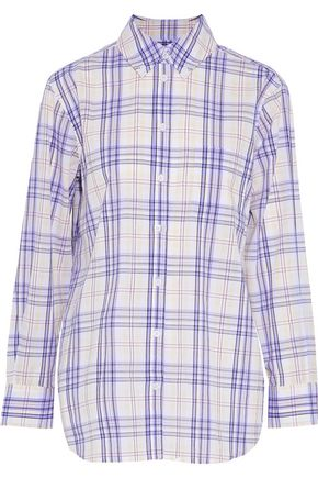 EQUIPMENT Checked cotton-gauze shirt