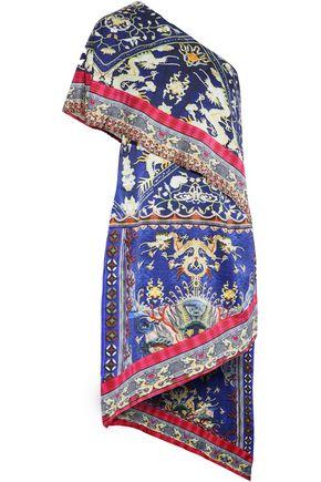 CAMILLA One-shoulder layered printed crystal-trimmed silk-satin dress