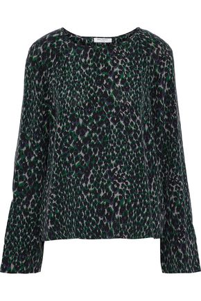 EQUIPMENT Abeline leopard-print washed-silk top