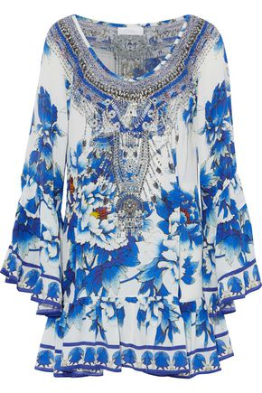 CAMILLA Wrap-effect printed jersey playsuit