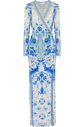 CAMILLA Crystal-embellished printed jersey wrap maxi dress
