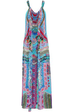 CAMILLA Convertible embellished printed silk crepe de chine maxi dress