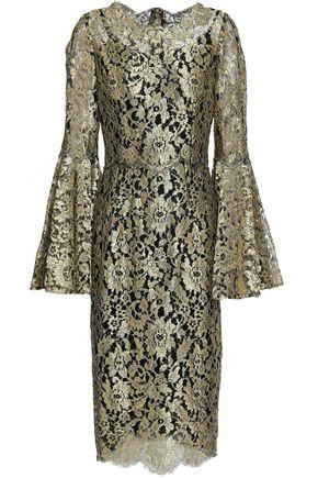 DOLCE & GABBANA Metallic layered flared lace dress