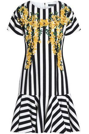 DOLCE & GABBANA Embellished striped cotton-blend dress