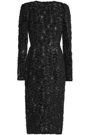 DOLCE & GABBANA Metallic fil coupè crepe dress