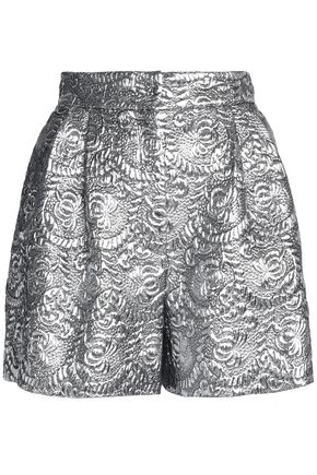 DOLCE & GABBANA Pleated metallic brocade shorts