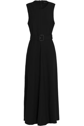 JOSEPH Flared belted crepe midi dress