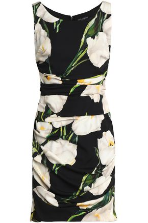DOLCE & GABBANA Ruched floral-print stretch-silk mini dress