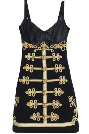 DOLCE & GABBANA Satin-paneled embellished wool-blend twill mini dress