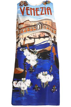 DOLCE & GABBANA Paneled printed silk-crepe dress