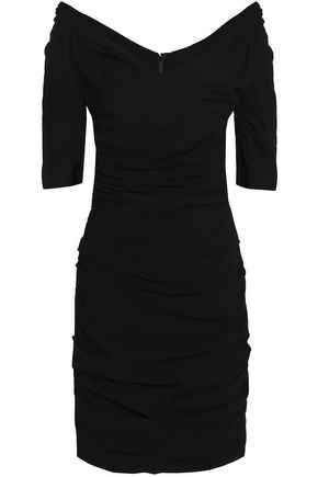 DOLCE & GABBANA Ruched wool-blend mini dress