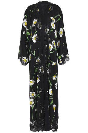 DOLCE & GABBANA Lace-trimmed floral-print silk-blend crepe de chine maxi dress