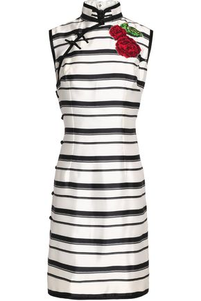 DOLCE & GABBANA Appliquèd striped silk-twill dress