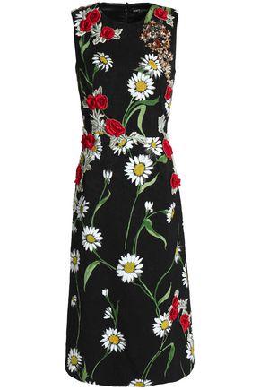 DOLCE & GABBANA Embellished floral-print jacquard dress