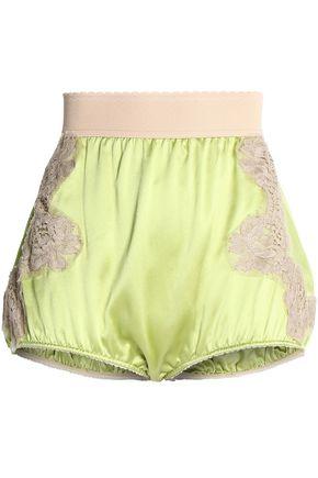 DOLCE & GABBANA Lace appliquéd silk-satin shorts
