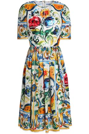 DOLCE & GABBANA Pleated printed silk crepe de chine dress