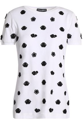DOLCE & GABBANA Appliquéd cotton-jersey T-shirt