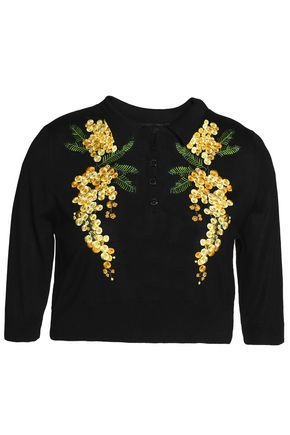 DOLCE & GABBANA Cropped embroidered silk-blend sweater