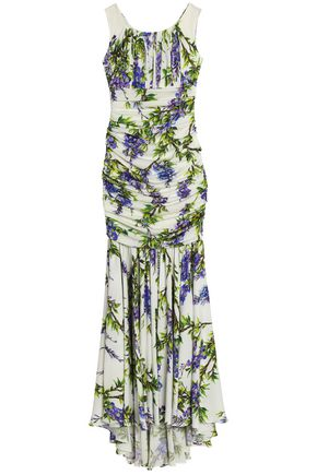 DOLCE & GABBANA Ruched floral-print stretch-silk gown