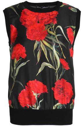 DOLCE & GABBANA Floral-print faille-paneled silk top