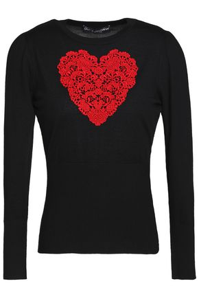 DOLCE & GABBANA Lace-appliquéd wool sweater