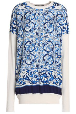 DOLCE & GABBANA Printed crepe de chine-paneled silk sweater