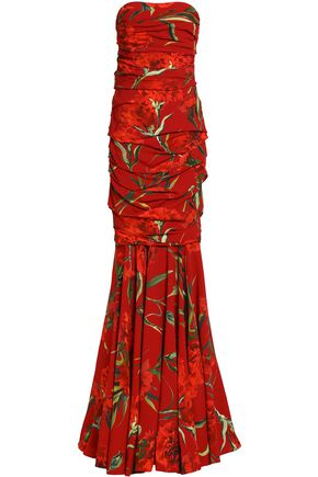 DOLCE & GABBANA Strapless ruched floral-print crepe gown
